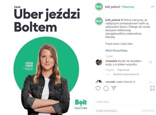 Uber jeździ Boltem